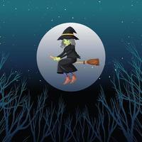 sorcière ou sorcier chevauchant un balai
