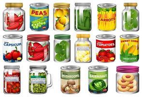 ensemble de différents aliments en conserve vecteur