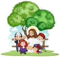 Jésus prêche à un groupe d'enfants vecteur