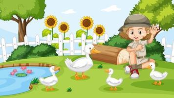 fille avec groupe de canards vecteur