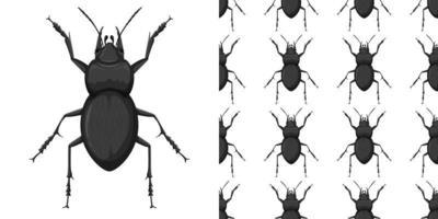 carabidae et motif isolé sur blanc vecteur