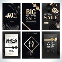 ensemble de modèles de vente vendredi noir et or