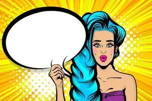 femme pop art cheveux bleus avec bulle de dialogue vecteur