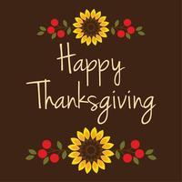 conception de joyeux thanksgiving avec des tournesols et des baies