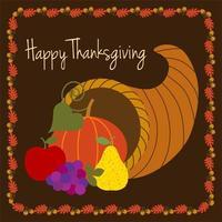 conception de joyeux thanksgiving avec corne d'abondance