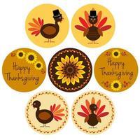 graphiques de Thanksgiving dans des cadres de cercle