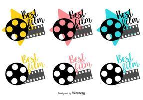 Meilleur Film Labels Traîneau Vector