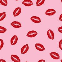 Embrasser le modèle sans couture de lèvres rouges sur fond rose vecteur