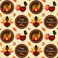 motif de Thanksgiving avec des dindes et une corne d'abondance