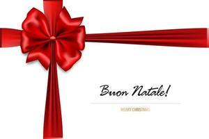 Noeud de soie rouge de vacances avec joyeux Noël en italien vecteur