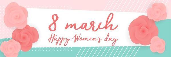 roses de la journée des femmes sur la bannière de motifs géométriques