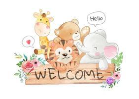 mignon amis animaux et panneau de bienvenue en bois