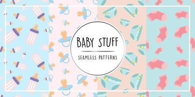 ensemble de modèles sans couture de trucs de bébé vecteur