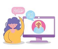 jeunes femmes dans un appel vidéo vecteur