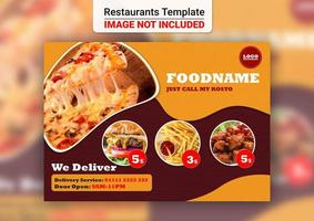 carte de livraison de conception de menu de restaurant vecteur
