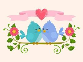 couple de petits oiseaux amoureux