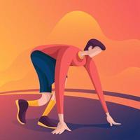 athlète se prépare à courir un marathon vecteur