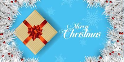 bannière de cadeau de Noël avec des branches d'arbres vecteur