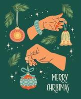 carte de voeux joyeux Noël sur fond vert vecteur