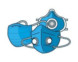 icône de style de ligne accessoires de protection masques médicaux bleus