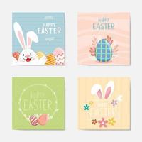ensemble de cartes décoratives joyeuses pâques