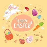 texte de joyeuses pâques avec lapin, oeufs et éléments décoratifs