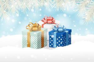 conception de noël avec des branches sur des cadeaux dans la neige vecteur