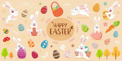 bannière de joyeuses pâques avec des lapins, des œufs et du feuillage