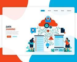 page de destination de la technologie de partage de données vecteur