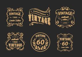Vintage Label Floral Scrollwork Pack Vector