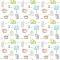 modèle sans couture scandinave avec maisons de doodle dessinés à la main