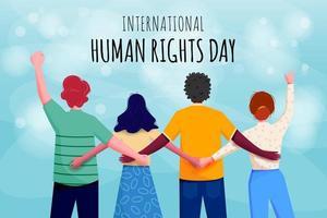 affiche de la journée internationale des droits de l'homme avec des personnes connectées vecteur