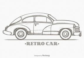 Hand Drawn Vector Sketch Retro Car