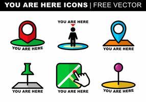 Vous êtes ici icônes vecteur libre