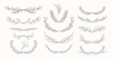 ensemble dessiné à la main diviseurs de nature végétale vecteur