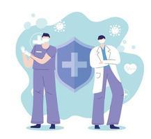 médecins lors d'une épidémie de coronavirus vecteur