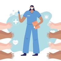personnes applaudissant pour une infirmière lors d'une épidémie de coronavirus vecteur