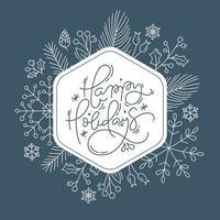 cadre de texte joyeuses fêtes avec feuillage de style de ligne