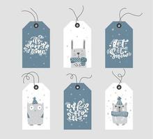 étiquettes de cadeau de Noël bleu et blanc avec calligraphie