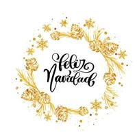 couronne de noël dorée avec calligraphie feliz navidad