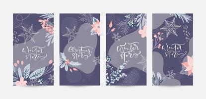 dessins de noël avec calligraphie et éléments floraux colorés vecteur