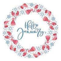 bonjour janvier calligraphie hiver éléments