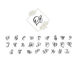 alphabet monogramme de calligraphie coeur manuscrite