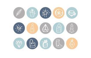 collection d'icônes d'élément de noël en évidence pastel
