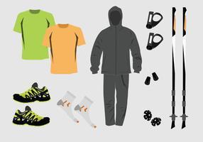 Ensemble vectoriel d'équipement Nordic Walking