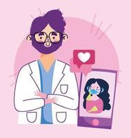 composition de concept de visite de médecin en ligne vecteur