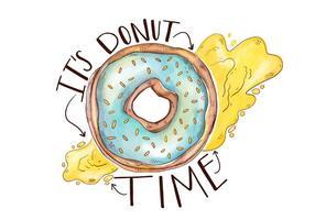 Colorful mignon Donut Avec Lettrage vecteur