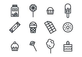Les sucreries et les icônes de chocolat
