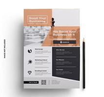 modèle de flyer brochure prêt à imprimer orange et gris vecteur