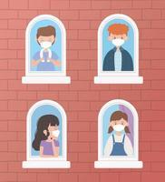 jeunes portant des masques faciaux à la fenêtre vecteur